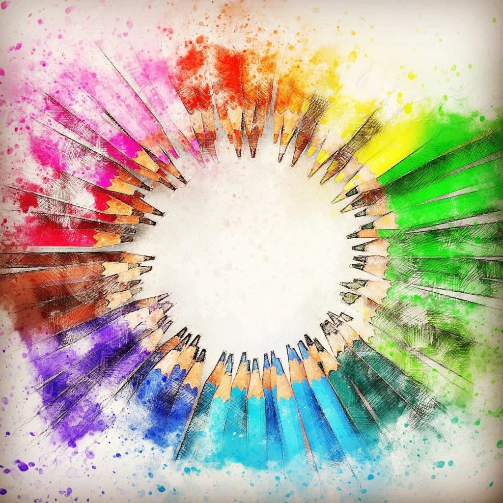 Des traits de toutes les couleurs posés en cercle.